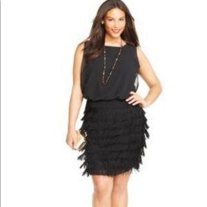 Never worn! Betsy & Adam Fringe Blouson Dress